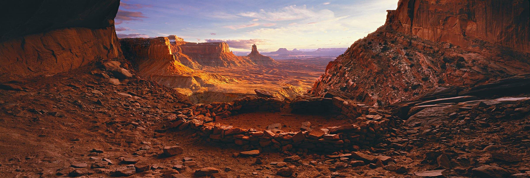 Man made stone circle on a rock plateau overlooking Canyonlands National Park Utah