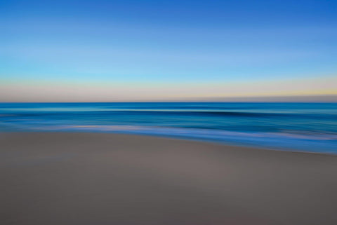 Blurred sand beach ocean and sky in Montauk Long Island