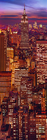 Rooftop view of the Empire State building and New York City lit up at night