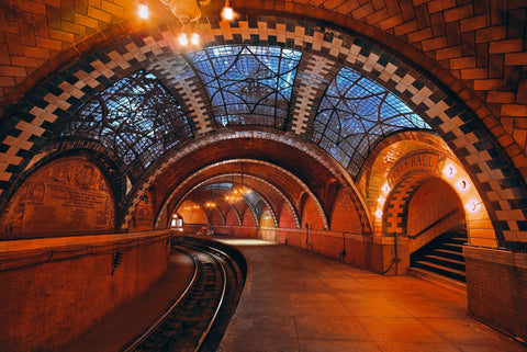 Brick and tile archways of the old underground rail tunnel of City Hall Station New York