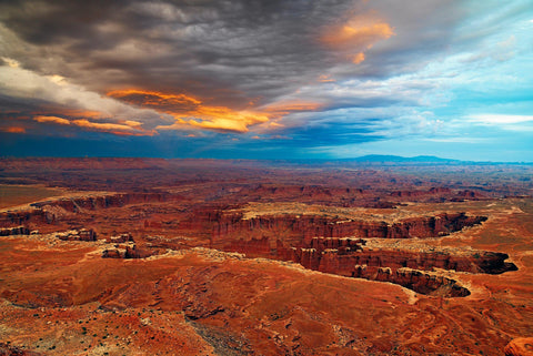 Storm rolling into the rock canyon and valley of Canyonlands National Park Utah