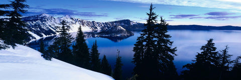 View of Crater Lake Oregon looking over pine tree silhouettes from the snow covered mountainside