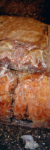 Aboriginal artwork painted on the side of a cave in the Kakadu National Park Australia