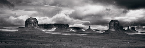 Cloud covered stone buttes of Monument Valley Arizona during a thunder storm