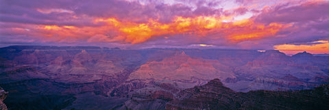 Cloudy sunset over the rock cliffs of the Grand Canyon Arizona
