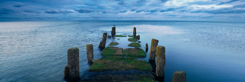 Old mossy wooden jetty half covered by the ocean in Cape Cod Massachusetts