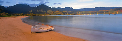 White row boat sitting on the shore of the sail boat filled Hanalei Bay Hawaii with mountains in the background