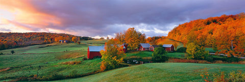 Red Barn and house of Jenne Farm Vermont in the middle of a field surrounded by trees in Autumn