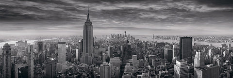 Black and white rooftop view of the Empire State building and New York City