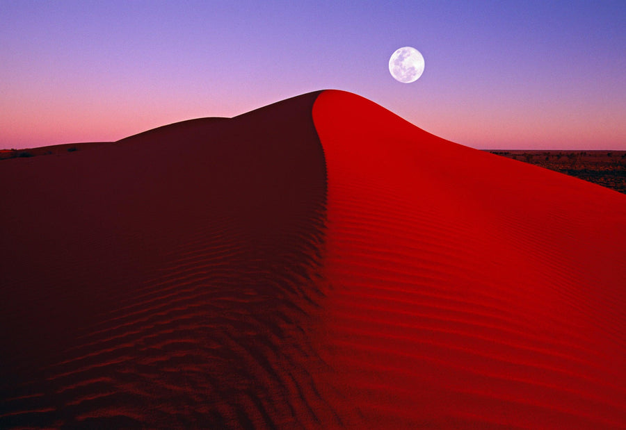 Bright orange dune with the full moon at sunset in the Simpson Desert Australia
