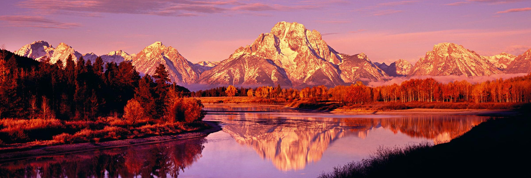 Autumn colored forest reflecting into the Snake River with the Grand Teton Mountains in the background at sunrise
