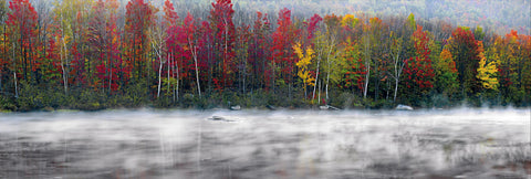 Mist covered river in front of a forest with some Autumn colors in White Mountain National Forest New Hampshire