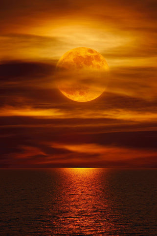 Orange full moon in a cloudy sky shining across a red ocean early in the morning in La Jolla California