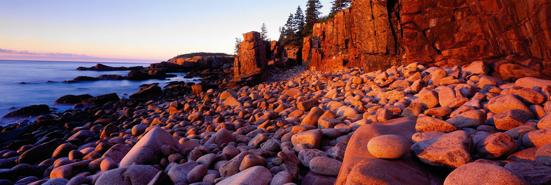Rock beach at low tide next to a forest cliff at Acadia National Park Maine during sunrise