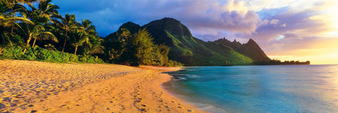 Palm lined sand beach leading to the tropical mountains of the Na Pali Coast Hawaii at sunrise