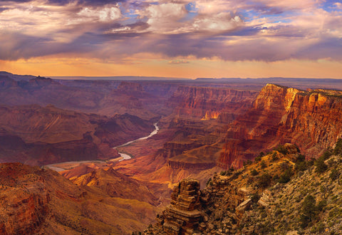View overlooking the Colorado River cutting through the Grand Canyon in Arizona
