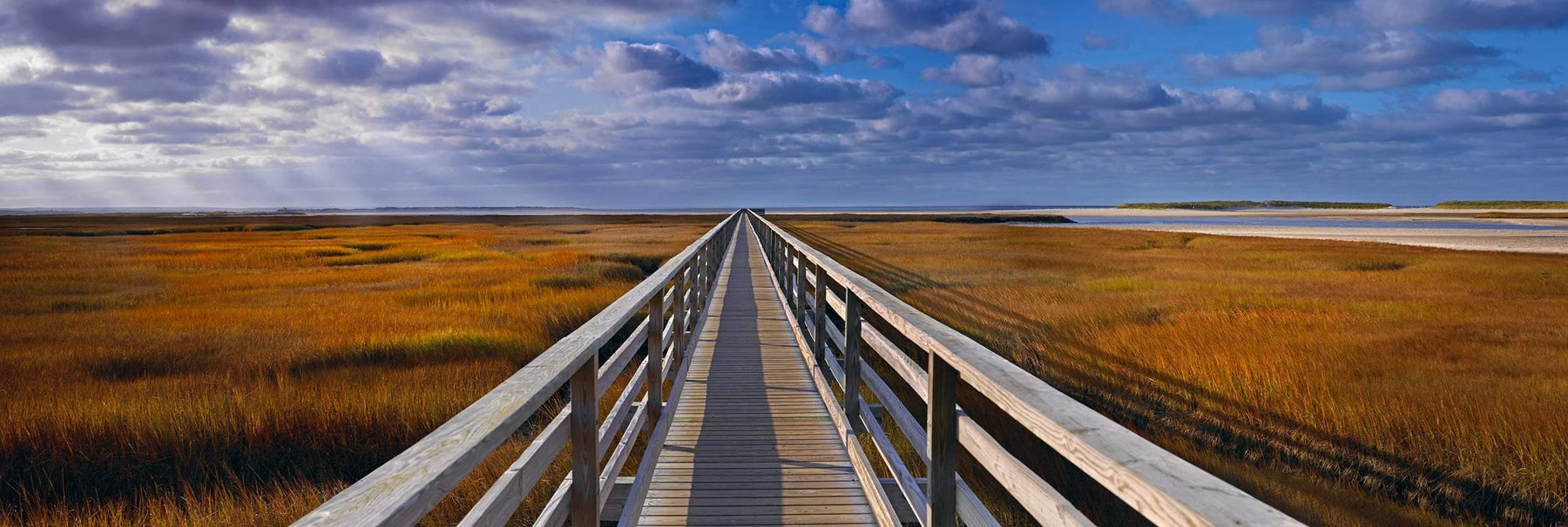 Wooden pier reaching over the grass marshlands along the coast of Cape Cod Massachusetts