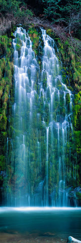 Mossbrae waterfall flowing into the Sacramento River in the Shasta Cascade area in Dunsmuir California