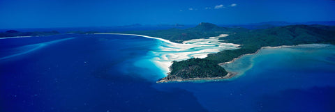 Aerial view of the ocean and tidal sands of Hill Inlet Queensland, Australia
