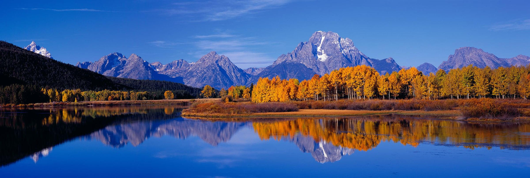 Autumn colored forest reflecting into the Snake River with the Grand Teton Mountains in the background