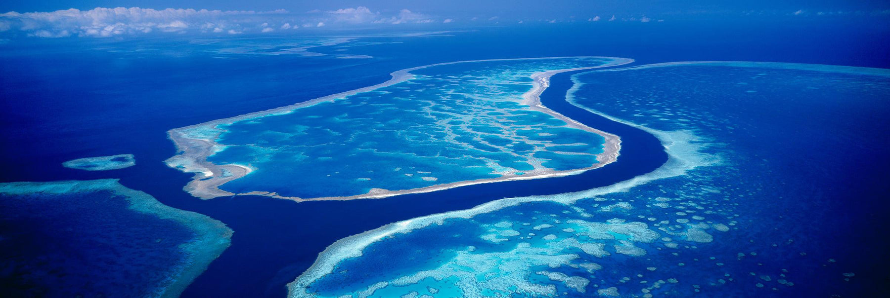 Aerial view of Hardy's Lagoon surrounded by the Great Barrier Reef Australia