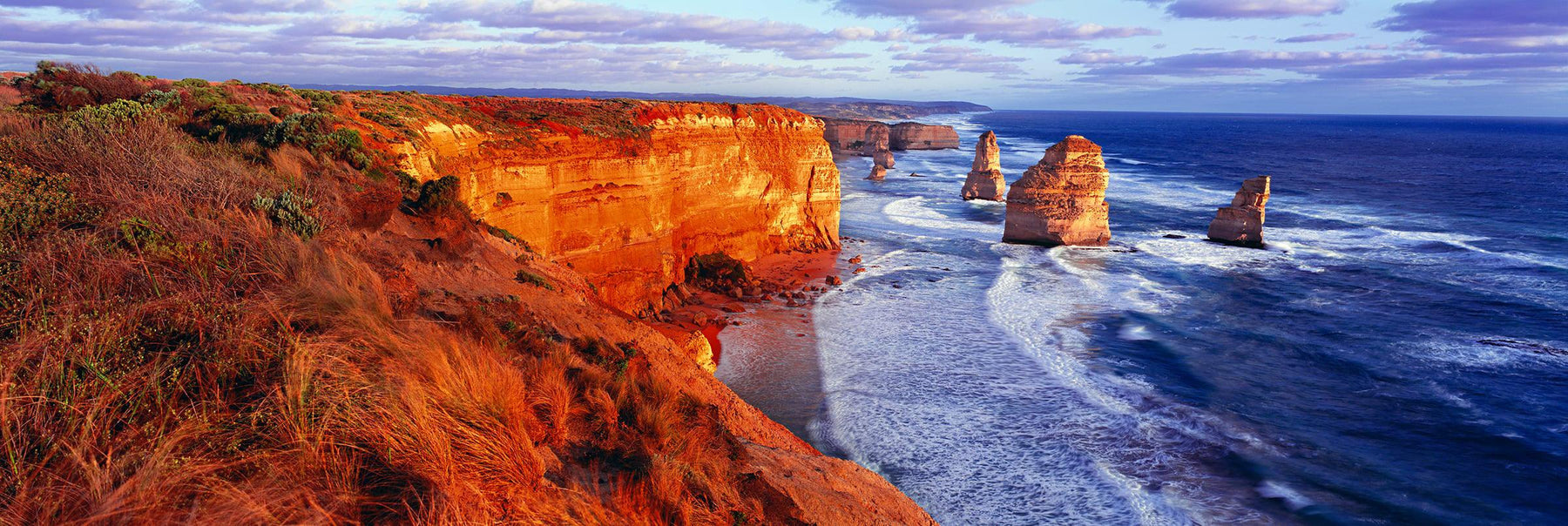 Twelve Apostles rock formations along the coast of Marine National Park Australia