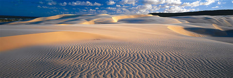 Sand dunes in front of a cloudy blue sky on Fraser Island Australia