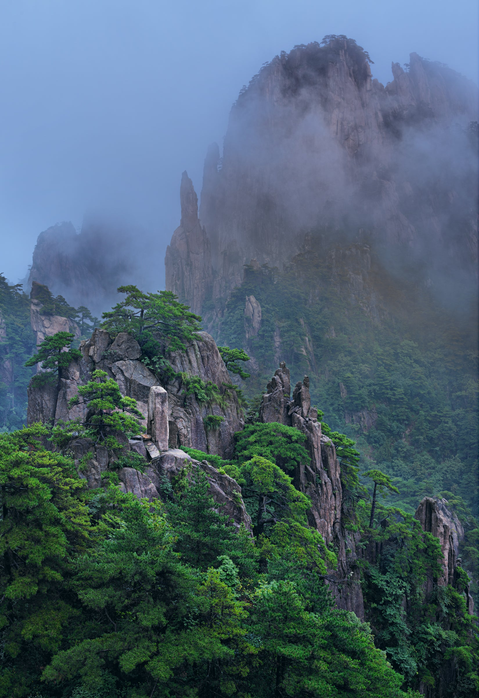 Hazy fog swirling through the rocky mountains of Huangshan China covered in green trees