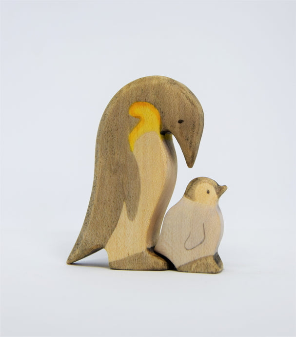 Wooden Penguin with chick