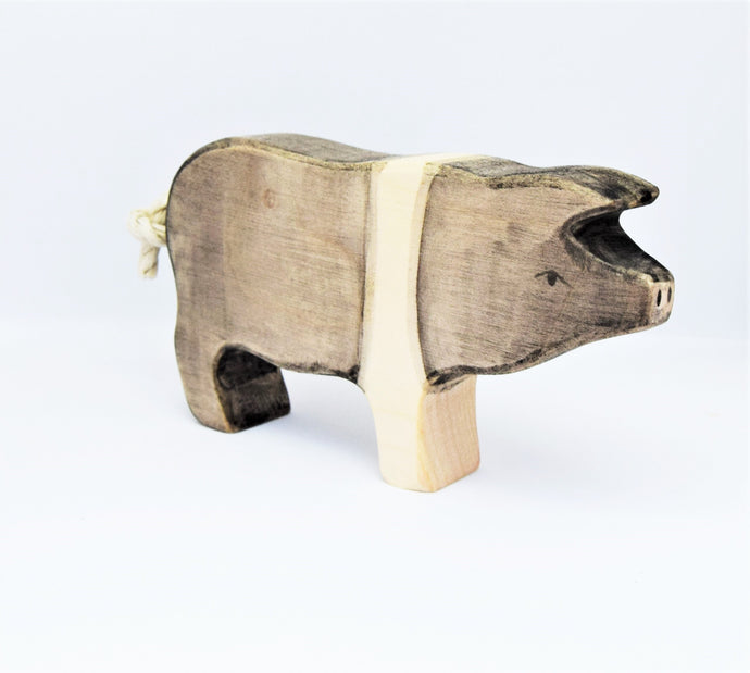 Wooden Saddleback Pig - Eric & Albert's Crafts