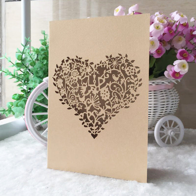 Laser Cut Heart Wedding Invitaion Bi-folder