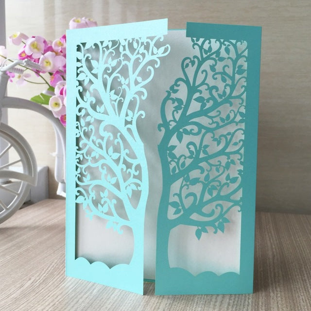 Laser Cut Gate Fold Tree Invitation Card