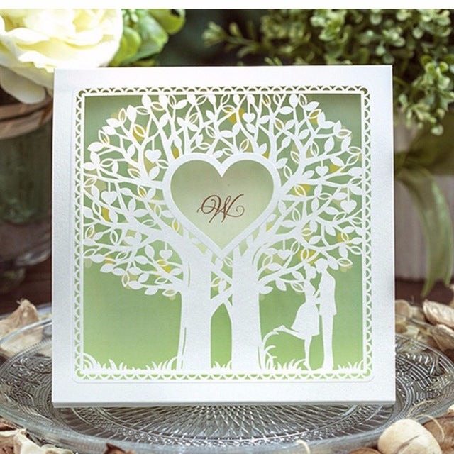 Couple under Tree Wedding Invitation Bi-folder