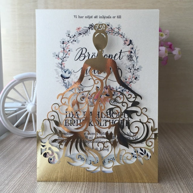 Metallic Gold Bride Dress Wedding Invitation Pocket
