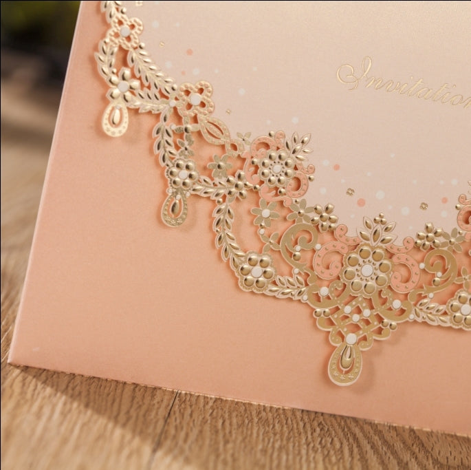 Wedding Invitation Pocket-Horizontal Metallic Peach with Gold Foil
