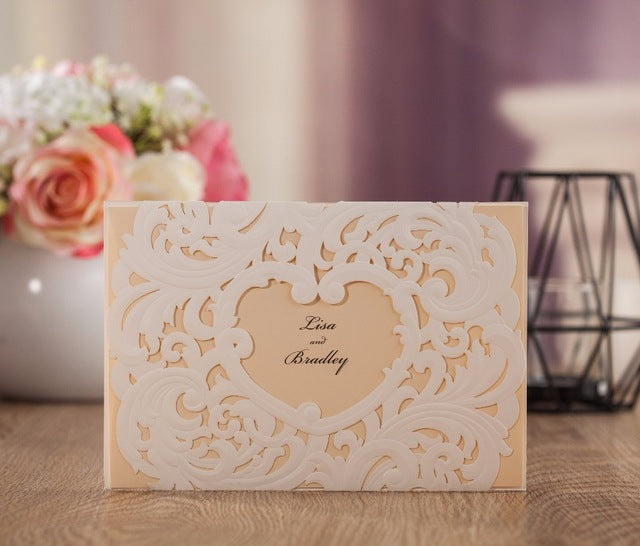 Embossed Heart Design Wedding Invitation Pocket