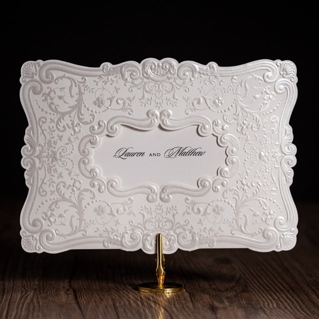 White Color Flower Embossed Wedding Invitation Pocket