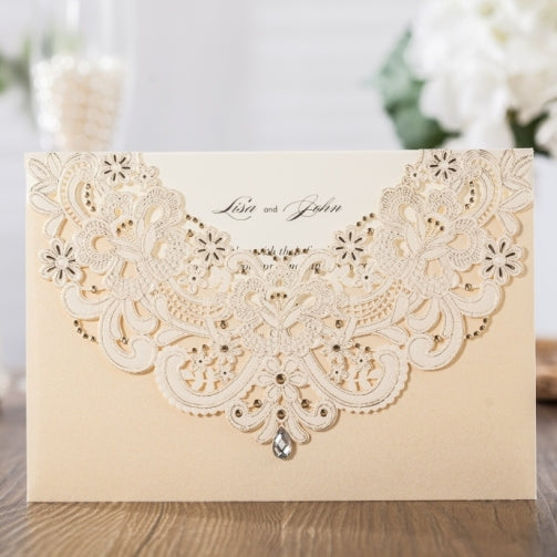 Diamond Decorated Wedding Invitaion Pocket-Horizontal