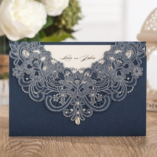 Navy Blue Laser Cut wedding Invitation