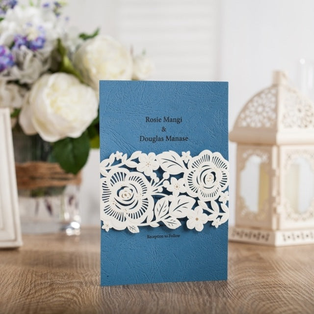 Blue Laser Cut Cards Printable Engagement & Party Invitations