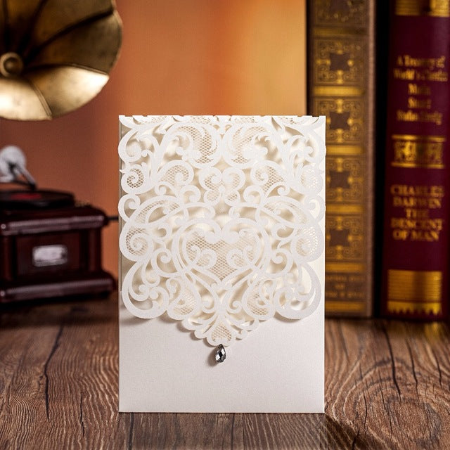 Diamond Decorated Wedding Invitaion Pocket-Vertical