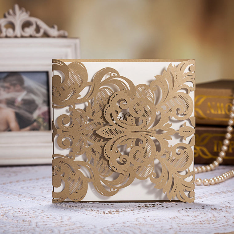 Wedding Invitation Champagne Gold Tri-fold