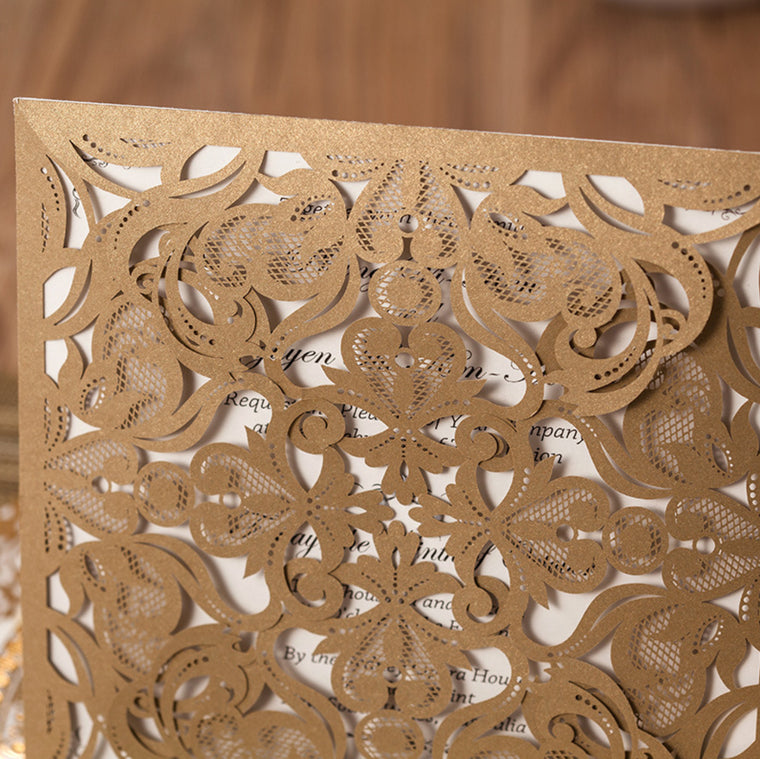 Wedding Invitation Champagne Gold Flower
