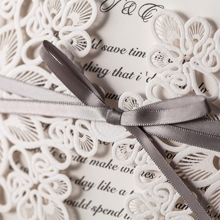 Wedding Invitation Square with Ribbon
