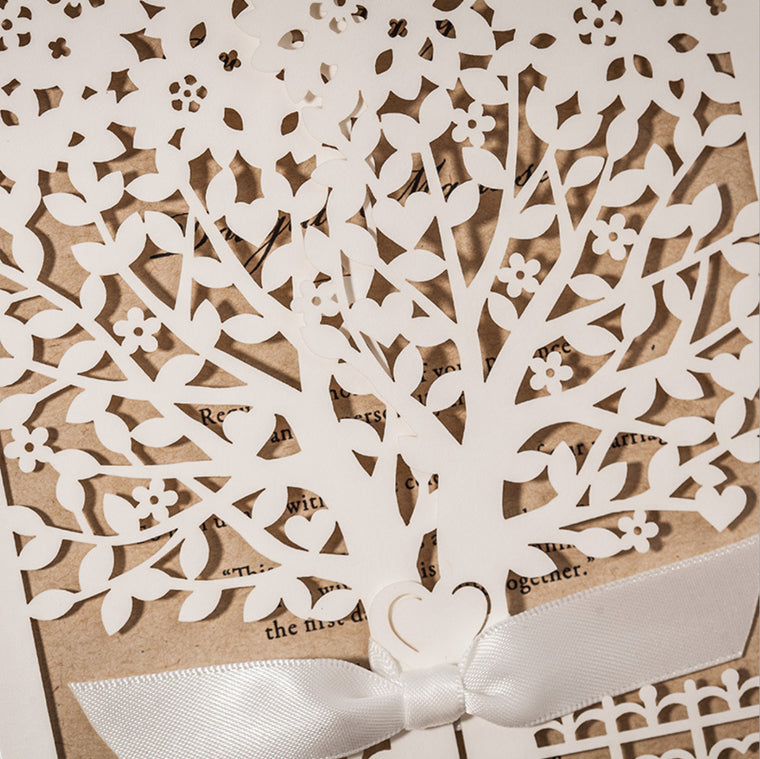 Tree with Ribbon Wedding Invitation Pocket