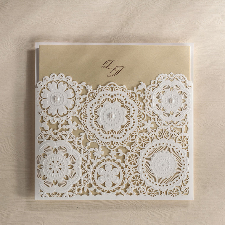 Wedding Invitation White Flower pocket