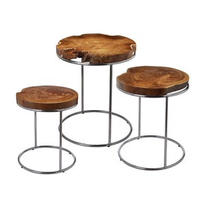Natural Teak Slab Stacking Table Set - Home Again Palm Beach