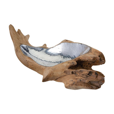 Teak Root Bowl with Aluminum Insert - Home Again Palm Beach