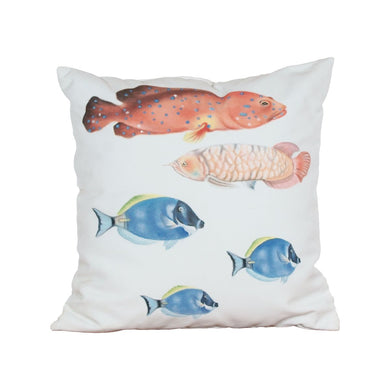 Fish Hand-Painted Square Outdoor Pillow - Home Again Palm Beach