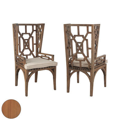Indoor Outdoor Chinese Chippendale Teak Chinese Chippendale Wingback Chair Set with Euro Teak Oil Finish - Home Again Palm Beach